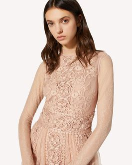 REDValentino Point d'esprit tulle and lace dress with macramé ribbons and floral embroidery