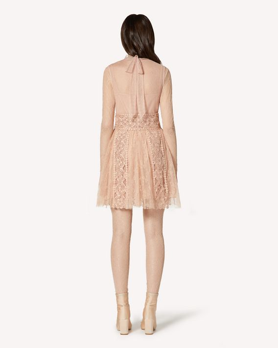 REDValentino  Floral embroidered point d'esprit tulle and lace dress with macramé ribbons