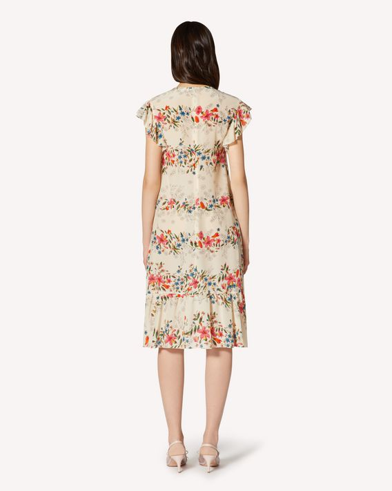REDValentino Floral Flounces printed silk dress