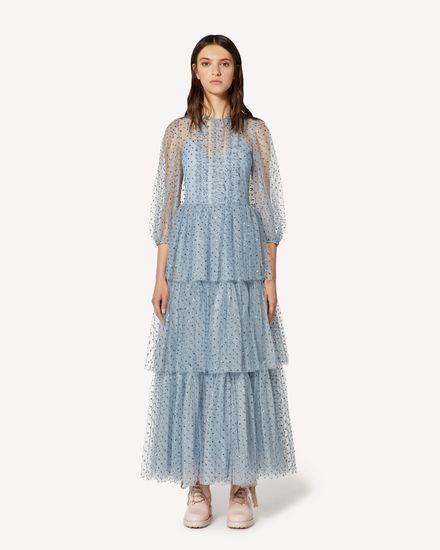Эксклюзивное платье из тюля в блестящий горошек