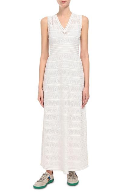 M MISSONI Long dress Ivory Woman - Back