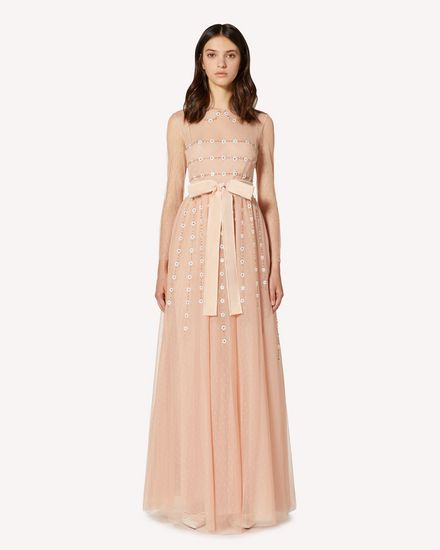 Point d'esprit tulle dress with ray and flower embroidery