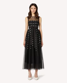 REDValentino Rays and flowers embroidered point d'esprit tulle dress
