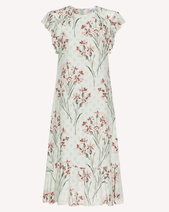 REDValentino Cornflower printed silk dress