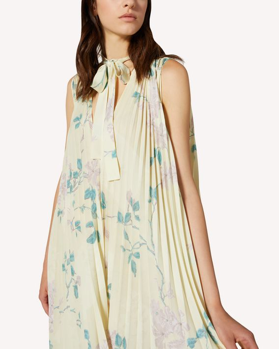 REDValentino Jasmine Vines printed crepe de chine pleated dress