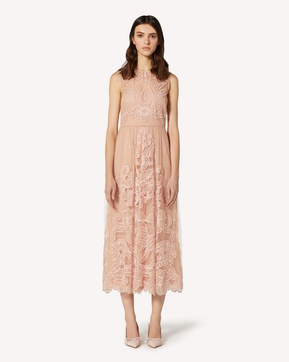 REDValentino Point d'esprit tulle dress with cut-out embroidery