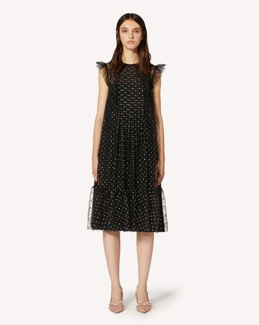 REDValentino Glitter Polka Dot lace dress