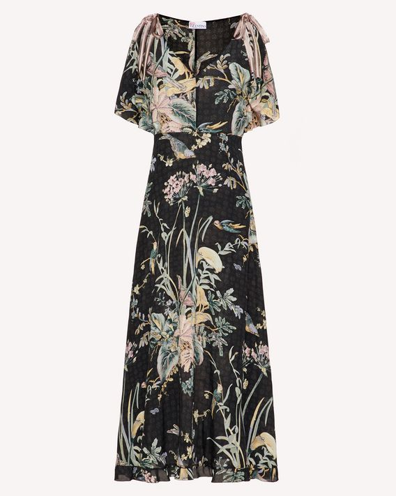 REDValentino Antique Flowers and Birds printed silk dress