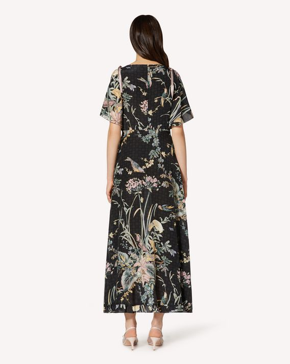 REDValentino Abito in seta stampa Antique Flowers and Birds