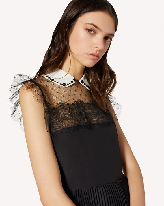 REDValentino Crepe de chine and point d'esprit tulle pleated dress