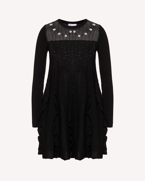 REDValentino Wool knit dress with flower embroidery
