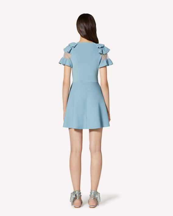 REDValentino Stretch viscose and point d'esprit tulle knit dress