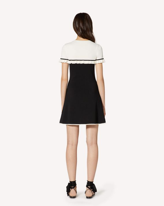 REDValentino Ruffle detail stretch viscose knit dress