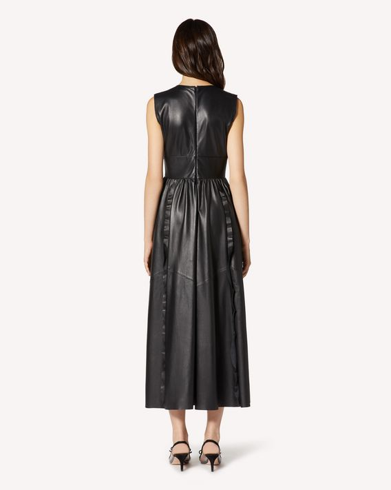 REDValentino Ruffle detail  leather dress
