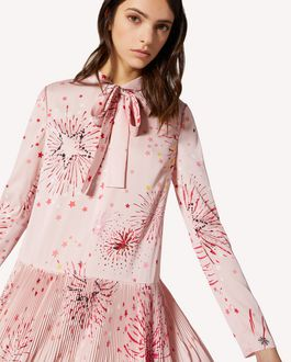 REDValentino EXCLUSIVE CAPSULE Fireworks printed crepe de chine dress