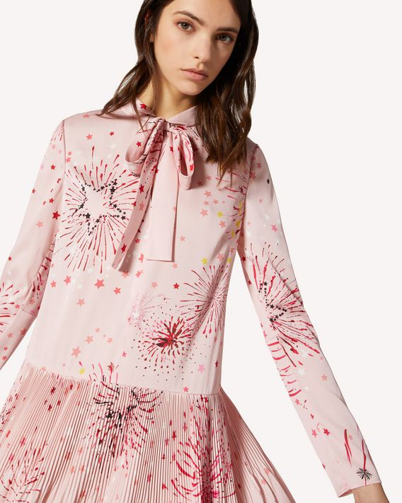 REDValentino EXCLUSIVE CAPSULE COLLECTION Pleated crepe de chine dress with Fireworks print.