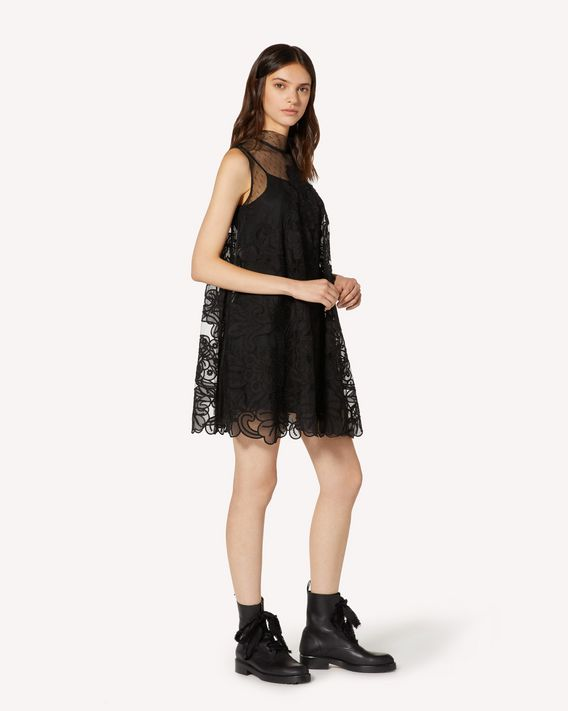 REDValentino Abito in tulle point d'esprit con ricamo in organza cut out
