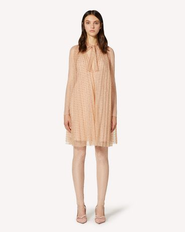 REDValentino Pleated glitter polka dot dress