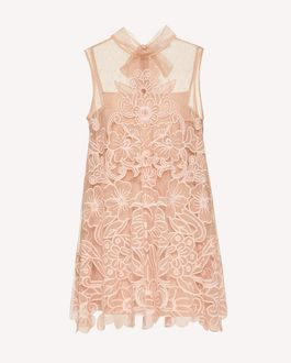 REDValentino Point d'esprit tulle dress with cut-out organza embroidery