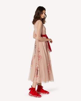 REDValentino EXCLUSIVE CAPSULE COLLECTION  Point d'esprit tulle dress with Fireworks embroidery
