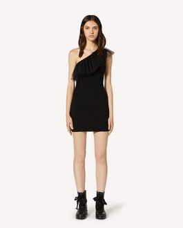 REDValentino Stretch viscose and glitter polka dot tulle knit dress