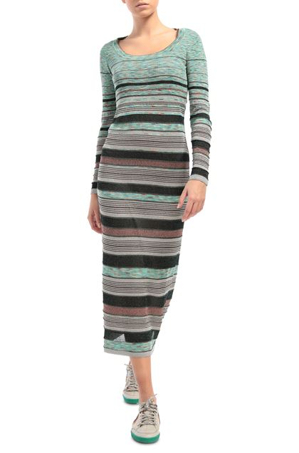 M MISSONI Long dress Green Woman - Back