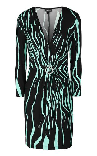 JUST CAVALLI Dress Woman Dress in zebra-stripe jacquard f