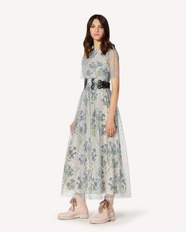 REDValentino Glitter Polka Dot tulle dress with printed lining