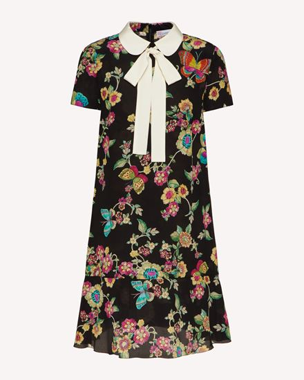 Silk dress with Flower and Butterflies print