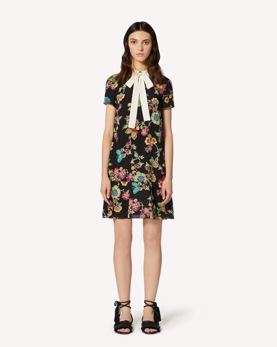 REDValentino Silk dress with Flower and Butterflies print
