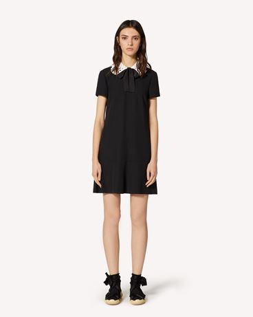 REDValentino Satin-backed crepe dress with St. Gallen embroidery collar