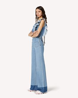 REDValentino Denim jumpsuit with Butterfly patch