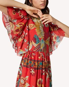 REDValentino Bird of Paradise in the Forest printed cotton silk dress