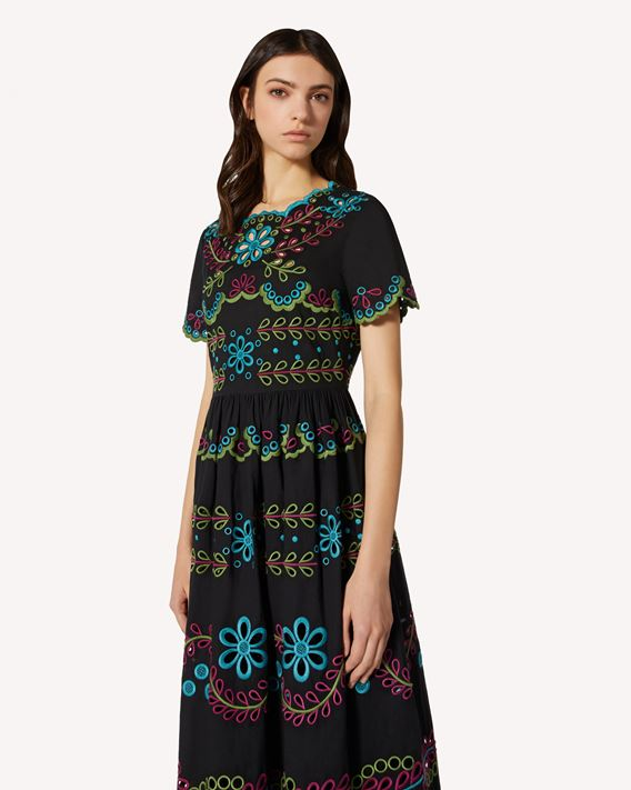 REDValentino Cotton voile dress with multicolor St. Gallen embroidery