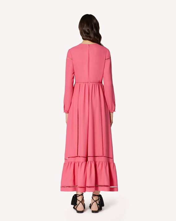 REDValentino Satin-backed crepe dress with openwork embroidery