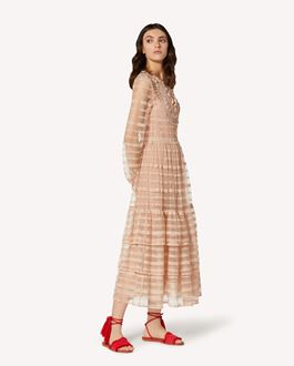 REDValentino Point d'esprit tulle and lace ribbons dress