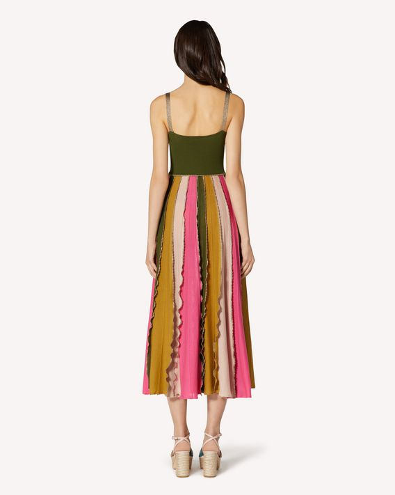 REDValentino Color block cotton knit dress with ruffle detail