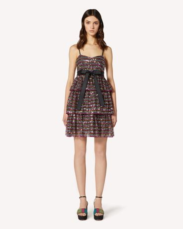 REDValentino Tulle dress with multicolor sequin embroidery