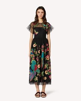 REDValentino Point d'esprit tulle dress with Bird of Paradise in the Forest embroidery
