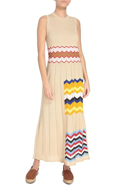 M MISSONI Long dress Beige Woman - Back