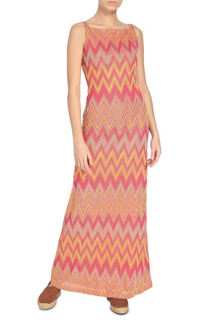 M MISSONI Long dress Orange Woman - Back