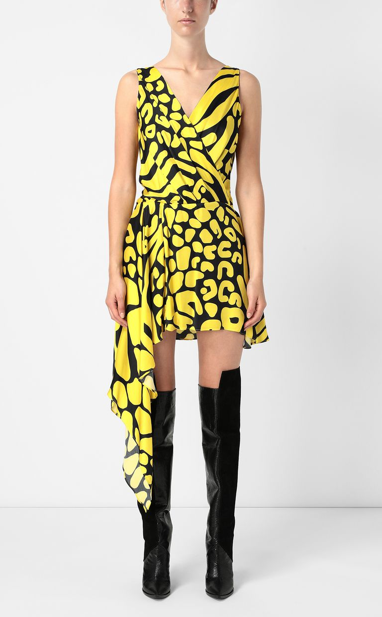 JUST CAVALLI Tribal-print asymmetrical dress Dress Woman r