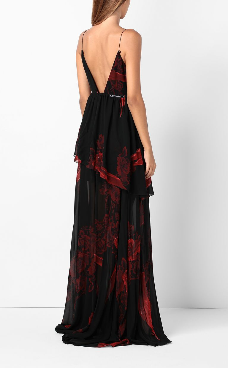 JUST CAVALLI Dress with Moving-Roses print Long dress Woman a