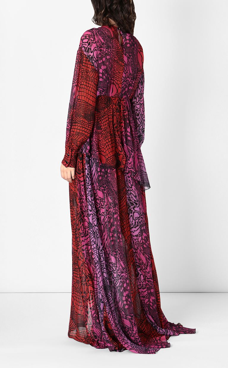 JUST CAVALLI Gown with Reptilia print Long dress Woman a