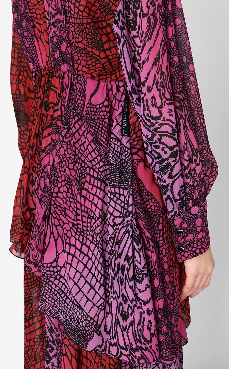 JUST CAVALLI Gown with Reptilia print Long dress Woman e