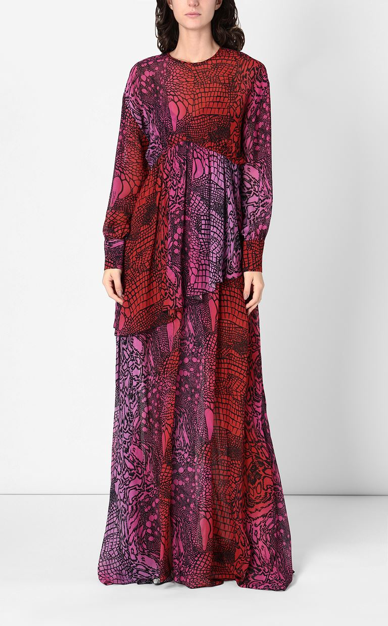 JUST CAVALLI Gown with Reptilia print Long dress Woman r