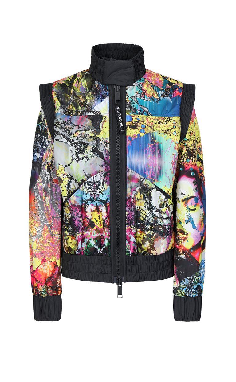 JUST CAVALLI Nylon jacket with print design Jacket Woman f