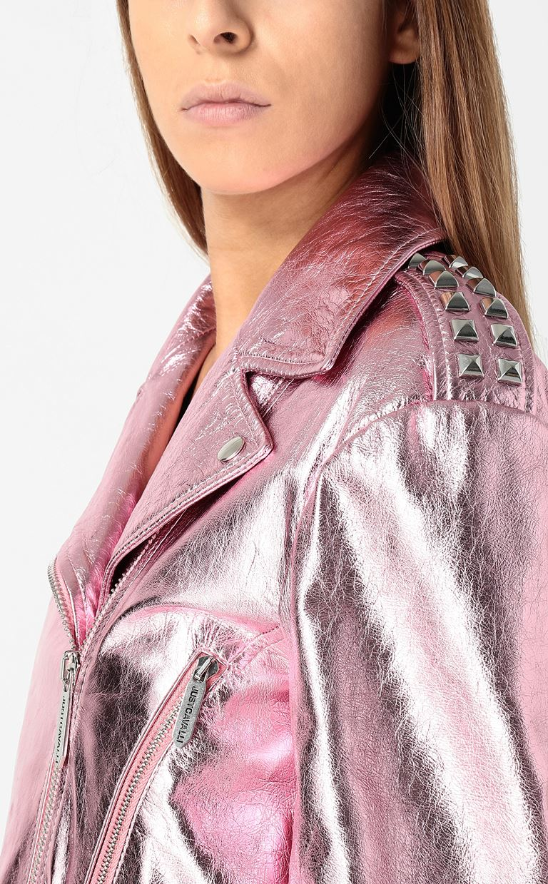 JUST CAVALLI Lamé leather jacket Leather Jacket Woman e