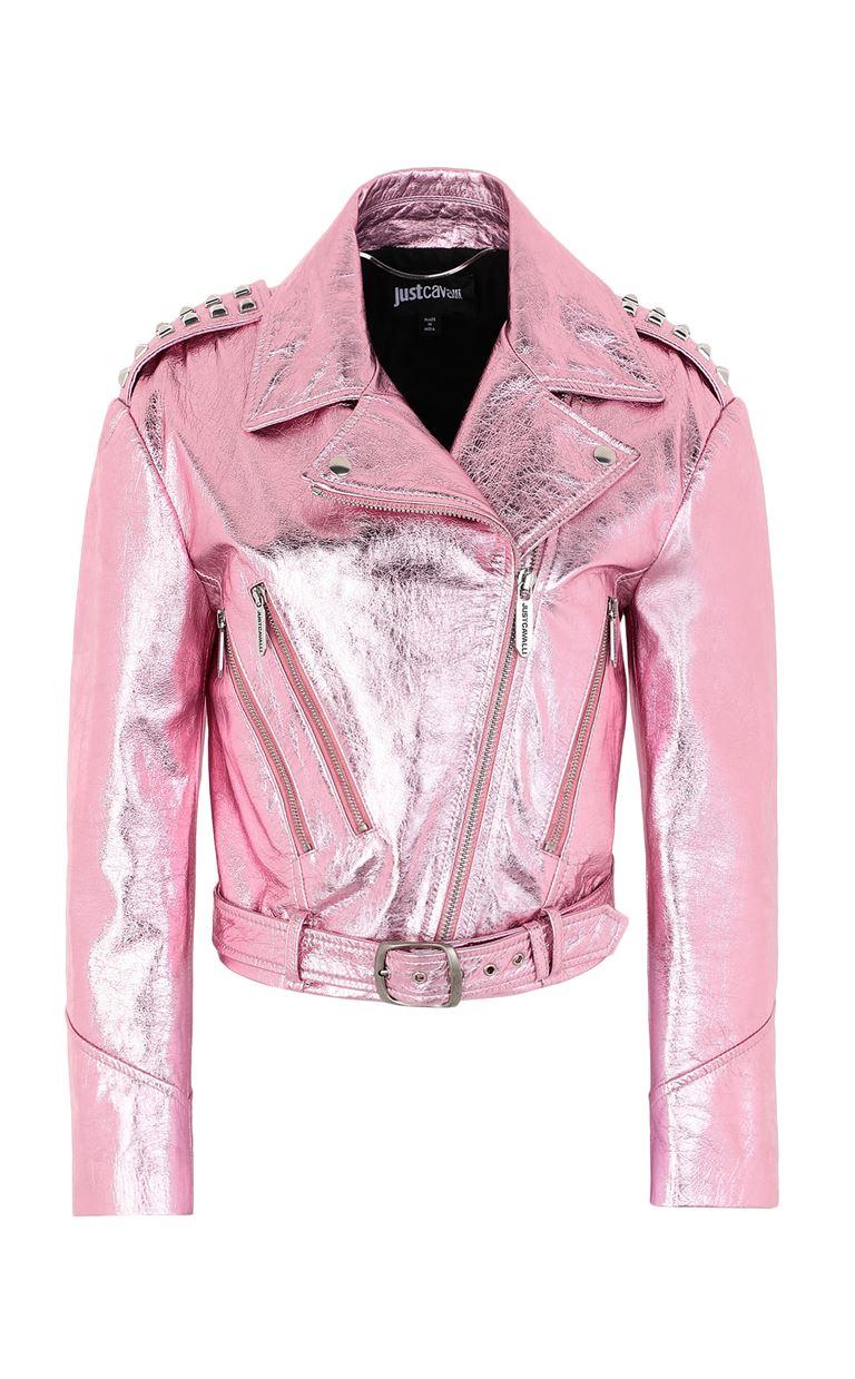JUST CAVALLI Lamé leather jacket Leather Jacket Woman f