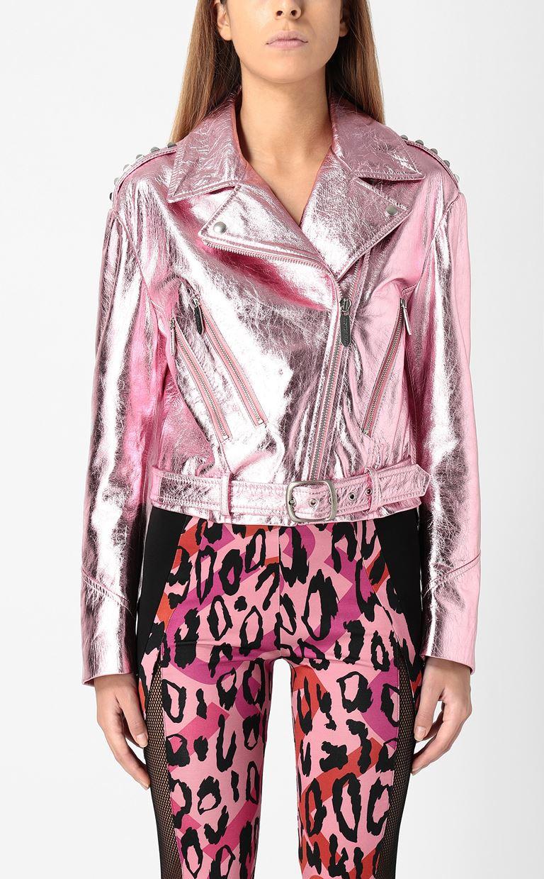 JUST CAVALLI Lamé leather jacket Leather Jacket Woman r